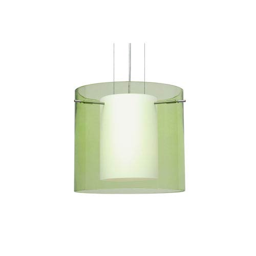 Pahu 12 Satin Nickel One-Light LED Pendant with Transparent Olive Glass