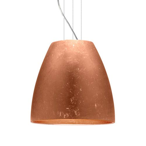 Bella 20 Satin Nickel One-Light LED Pendant with Copper Foil Glass