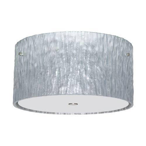 Besa Lighting Tamburo Satin Nickel Three-Light Incandescent 120v Flush Mount with Stone Silver Foil Glass