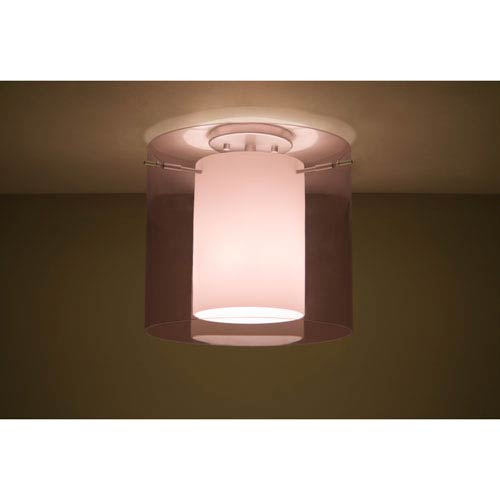 Pahu 12 Satin Nickel One-Light LED Semi Flush with Transparent Amethyst and Opal Glass