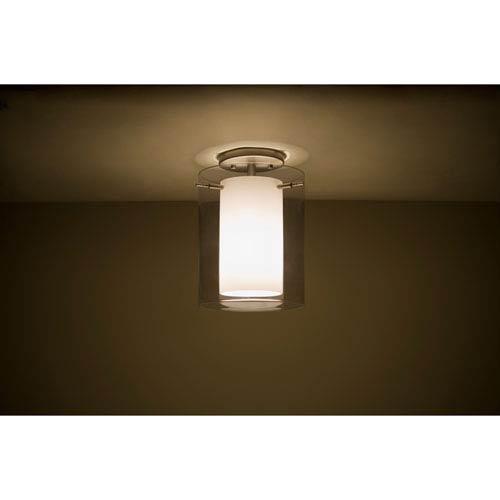 Pahu 8 Satin Nickel One-Light LED Semi Flush Mount with Transparent Smoke Glass