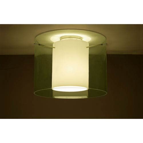 Pahu 16 Satin Nickel One-Light LED Semi Flush with Transparent Olive Glass