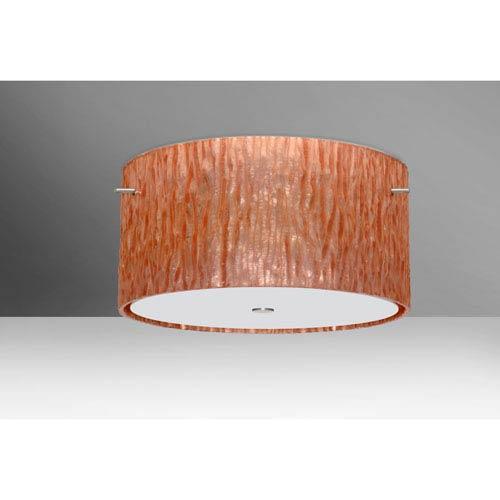Tamburo 16v2 Satin Nickel Three-Light LED Flush Mount with Stone Copper Foil Glass
