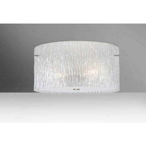 Tamburo 16v2 Satin Nickel Three-Light LED Flush Mount with Glitter Stone Glass