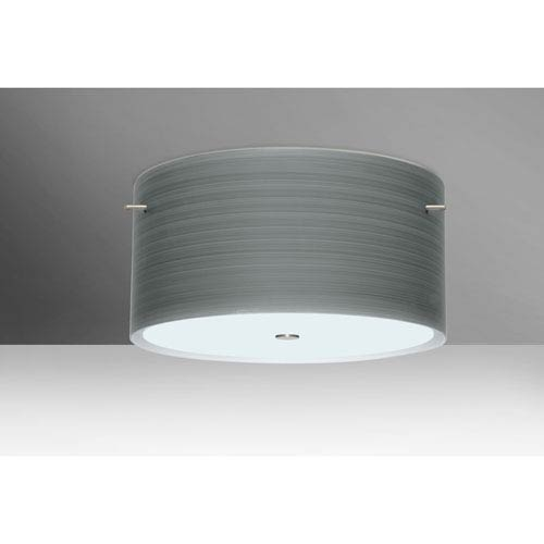Tamburo 16v2 Satin Nickel Three-Light LED Flush Mount with Titan Glass