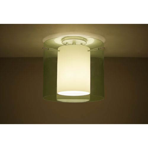 Pahu 12 Satin Nickel One-Light LED Semi Flush with Transparent Olive Glass