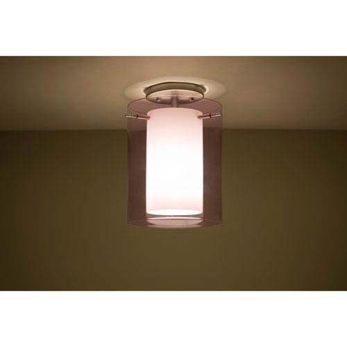 Pahu 8 Satin Nickel One-Light Semi Flush with Transparent Amethyst and Opal Glass