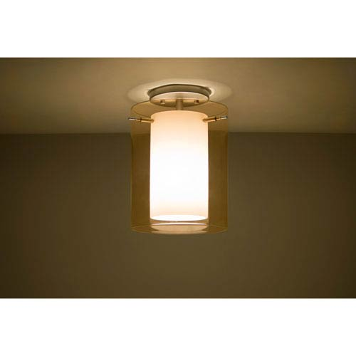 Pahu 8 Satin Nickel One-Light Semi Flush with Transparent Armagnac and Opal Glass