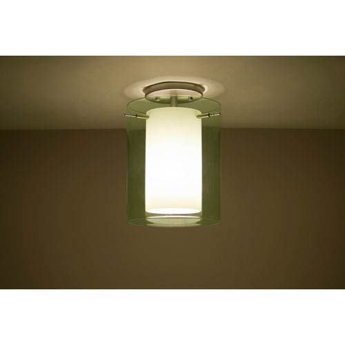 Pahu 8 Satin Nickel One-Light Semi Flush with Transparent Olive and Opal Glass