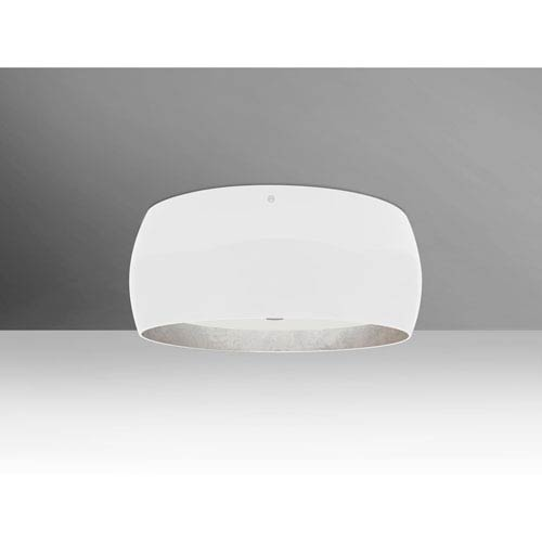Pogo Satin Nickel Three-Light LED Flush Mount with White and Inner Silver Foil Shade
