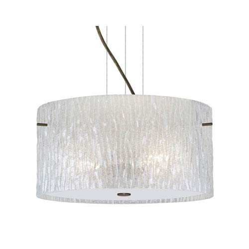Besa Lighting Tamburo Bronze One-Light Incandescent 120v Mini Pendant with Flat Canopy, Cable, and Glitter Stone Glass