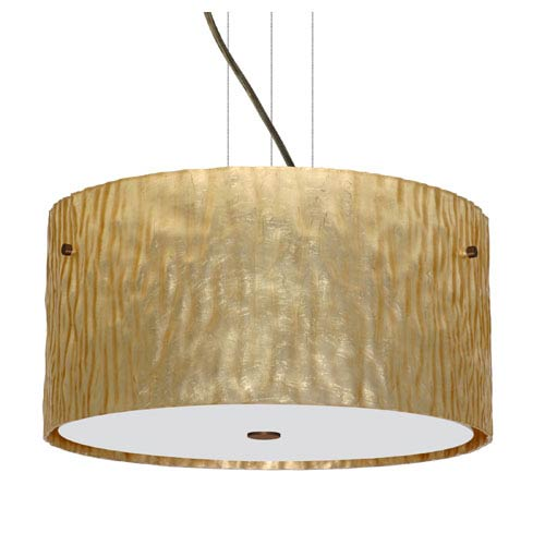 Besa Lighting Tamburo Bronze Three-Light Incandescent 120v Mini Pendant with Flat Canopy, Cable, and Stone Gold Foil Glass