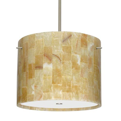 Tamburo 16 Satin Nickel Three-Light LED Pendant with Mosaic Onyx Glass