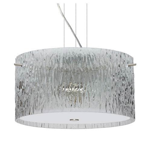 Tamburo 16v2 Satin Nickel Three-Light LED Pendant with Clear Stone Glass