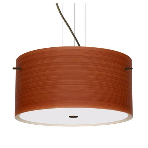 Tamburo 16v2 Bronze Three-Light LED Pendant with Cherry Glass