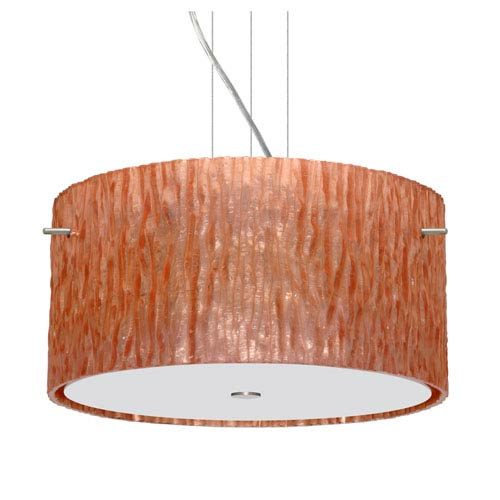 Tamburo 16v2 Satin Nickel Three-Light LED Pendant with Stone Copper Foil Glass
