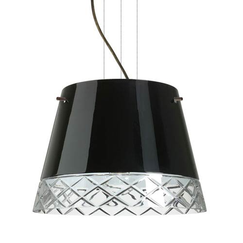 Amelia 15 Bronze Three-Light LED Pendant with Black Glass