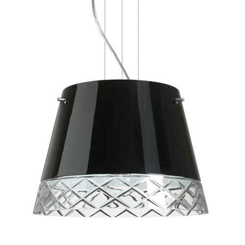 Amelia 15 Satin Nickel Three-Light LED Pendant with Black Glass