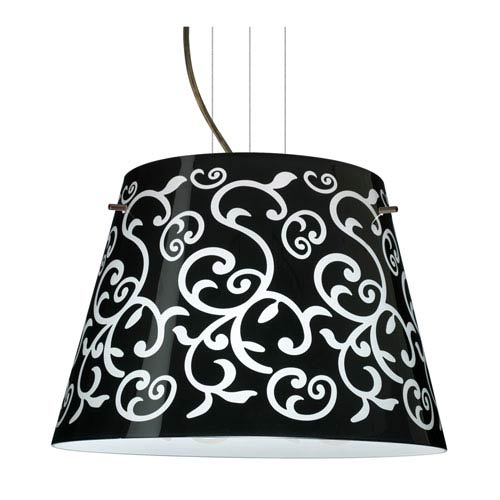 Amelia 18 Bronze Three-Light LED Pendant with Black Damask Glass