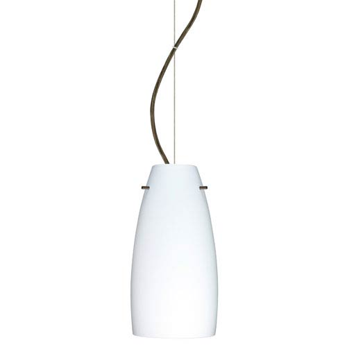 Besa Lighting Tao Bronze One-Light Incandescent 120v Mini Pendant with Dome Canopy, Cable, and Opal Matte Glass