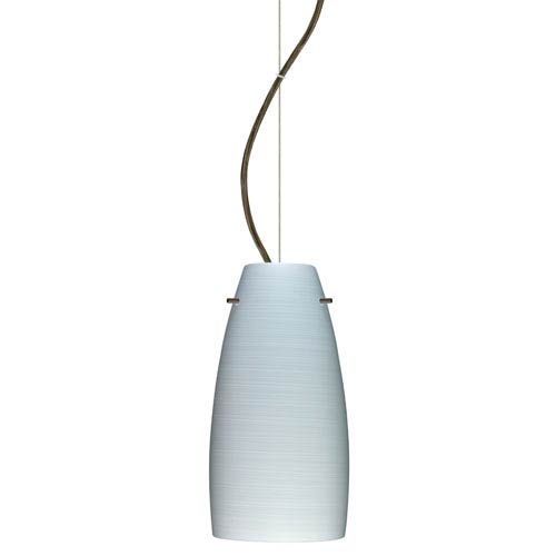 Tao Bronze One-Light Incandescent 120v Mini Pendant with Dome Canopy, Cable, and Chalk Glass