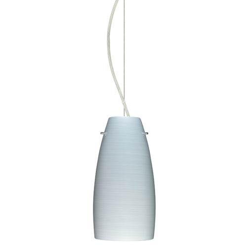 Tao Satin Nickel One-Light Incandescent 120v Mini Pendant with Dome Canopy, Cable, and Chalk Glass