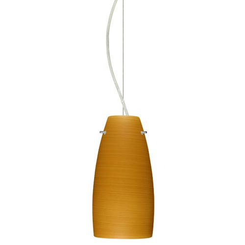 Besa Lighting Tao Satin Nickel One-Light Incandescent 120v Mini Pendant with Dome Canopy, Cable, and Oak Glass