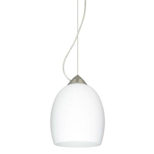 Besa Lighting Lucia Satin Nickel One-Light Incandescent 120v Mini Pendant with Dome Canopy, Cable, and Opal Matte Glass