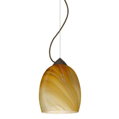 Lucia Bronze One-Light Incandescent 120v Mini Pendant with Dome Canopy, Cable, and Honey Glass