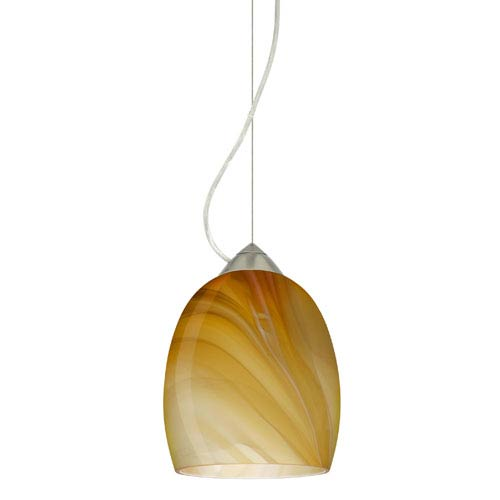 Lucia Satin Nickel One-Light Incandescent 120v Mini Pendant with Dome Canopy, Cable, and Honey Glass