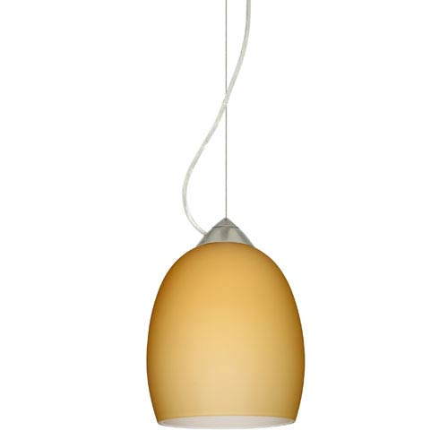 Besa Lighting Lucia Satin Nickel One-Light Incandescent 120v Mini Pendant with Dome Canopy, Cable, and Vanilla Matte Glass