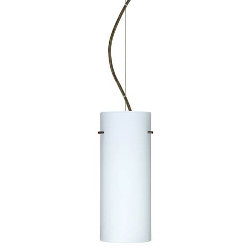 Besa Lighting Stilo 10 Bronze One-Light Incandescent 120v Mini Pendant with Dome Canopy, Cable, and Opal Matte Glass