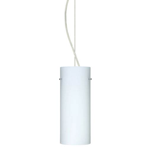 Besa Lighting Stilo 10 Satin Nickel One-Light Incandescent 120v Mini Pendant with Dome Canopy, Cable, and Opal Matte Glass