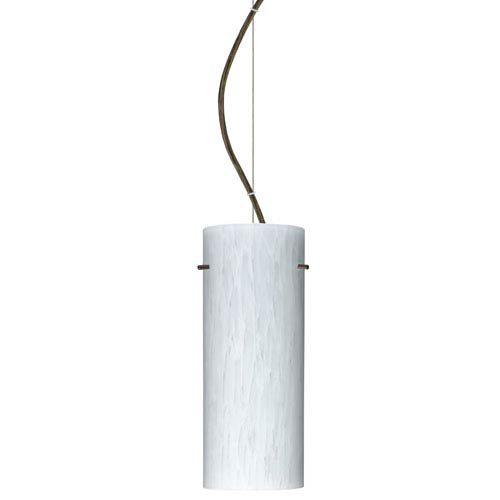 Besa Lighting Stilo 10 Bronze One-Light Incandescent 120v Mini Pendant with Dome Canopy, Cable, and Carrera Glass