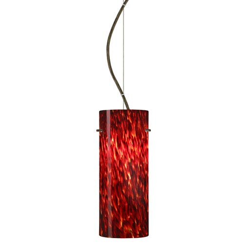 Stilo Bronze One-Light Incandescent 120v Mini Pendant with Dome Canopy, Cable, and Garnet Glass