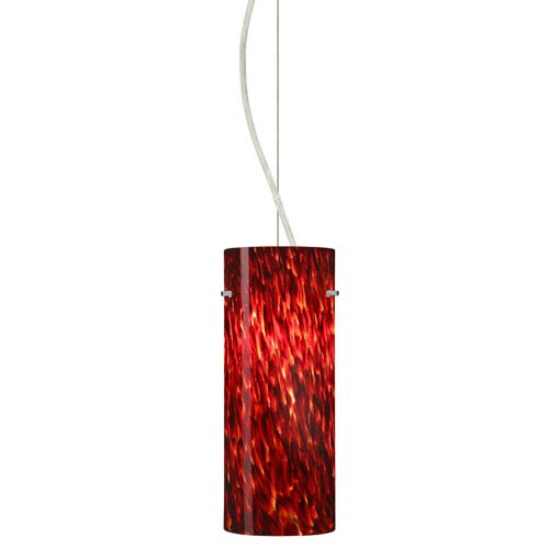 Stilo Satin Nickel One-Light Incandescent 120v Mini Pendant with Dome Canopy, Cable, and Garnet Glass