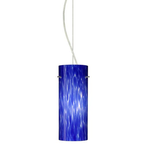 Besa Lighting Stilo Satin Nickel One-Light Incandescent 120v Mini Pendant with Dome Canopy, Cable, and Blue Cloud Glass
