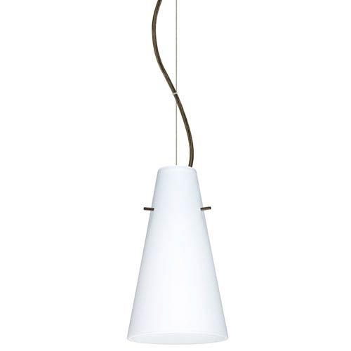 Besa Lighting Cierro Bronze One-Light Incandescent 120v Mini Pendant with Dome Canopy, Cable, and Opal Matte Glass