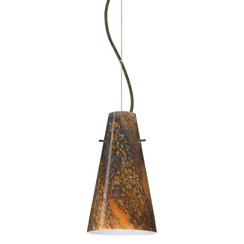 Besa Lighting Cierro Bronze One-Light Incandescent 120v Mini Pendant with Dome Canopy, Cable, and Ceylon Glass
