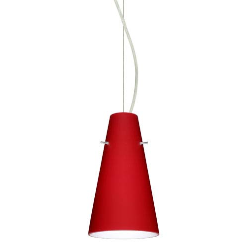 Besa Lighting Cierro Satin Nickel One-Light Incandescent 120v Mini Pendant with Dome Canopy, Cable, and Ruby Matte Glass