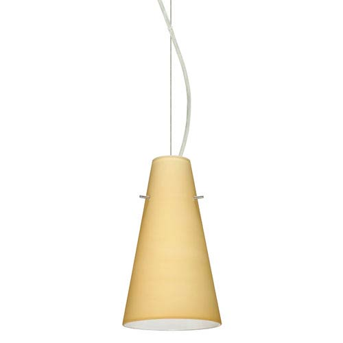 Besa Lighting Cierro Satin Nickel One-Light Incandescent 120v Mini Pendant with Dome Canopy, Cable, and Vanilla Matte Glass