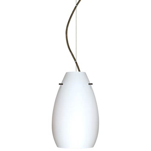 Besa Lighting Pera Bronze One-Light Incandescent 120v Mini Pendant with Dome Canopy, Cable, and Opal Matte Glass