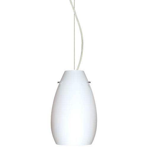 Pera Satin Nickel One-Light Incandescent 120v Mini Pendant with Dome Canopy, Cable, and Opal Matte Glass