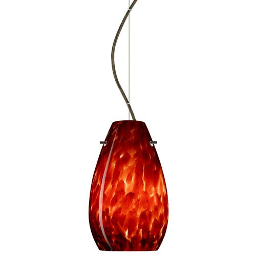Pera Bronze One-Light Incandescent 120v Mini Pendant with Dome Canopy, Cable, and Garnet Glass