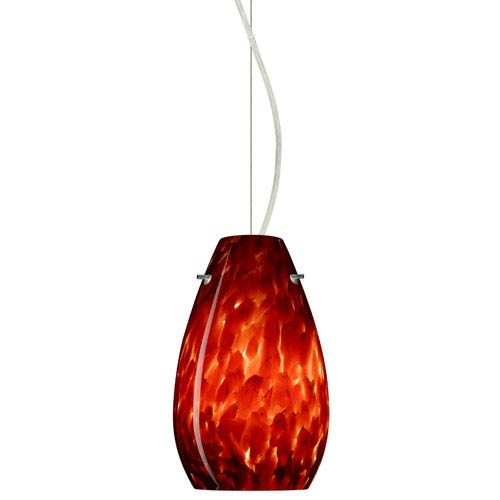 Besa Lighting Pera Satin Nickel One-Light Incandescent 120v Mini Pendant with Dome Canopy, Cable, and Garnet Glass
