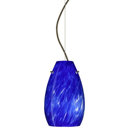 Besa Lighting Pera Bronze One-Light Incandescent 120v Mini Pendant with Dome Canopy, Cable, and Blue Cloud Glass