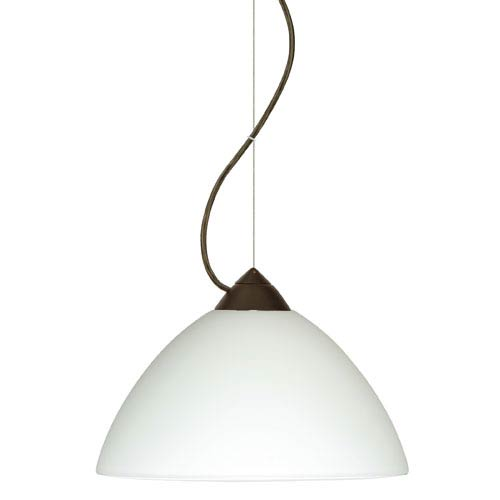 Besa Lighting Tessa Bronze One-Light Incandescent 120v Mini Pendant with Dome Canopy, Cable, and White Glass