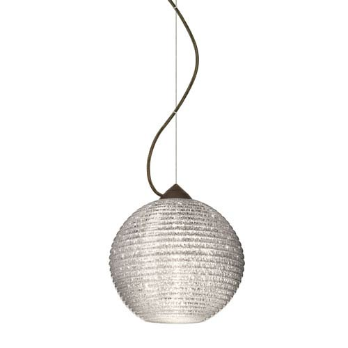 Besa Lighting Kristall Bronze One-Light Incandescent 120v Mini Pendant with Dome Canopy, Cable, and Glitter Glass