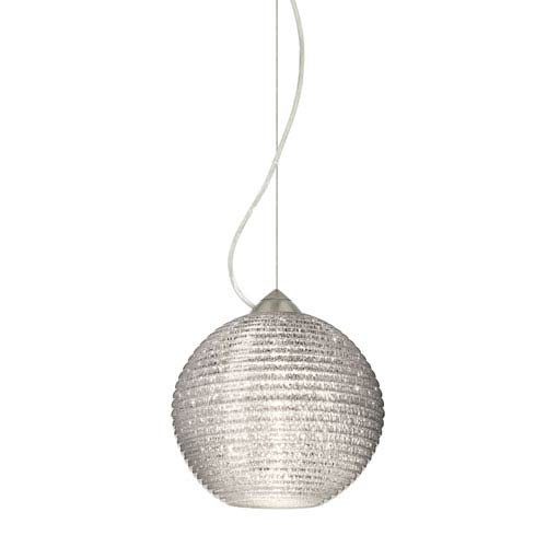 Besa Lighting Kristall Satin Nickel One-Light Incandescent 120v Mini Pendant with Dome Canopy, Cable, and Glitter Glass