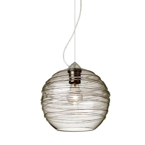 Besa Lighting Wave Satin Nickel One-Light Incandescent 120v Mini Pendant with Dome Canopy, Cable, and Smoke Glass